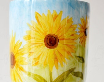 Hand Painted One of a Kind Sunflower Tumbler, Created just for you, your interests and tastes! Hand Painted, One of a Kind, Custom Tumbler