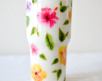Hibiscus Water Color Tropical Island Flower 30oz Stainless Steel Insulated Glitter Tumbler Birthday, Gift for Her, Vacation, Holiday