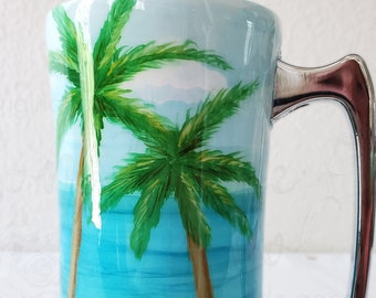 Hand Painted Palm Tree Beach Ocean Non-Glitter Tumbler, Available in a Variety of Sizes! Perfect for her, Perfect for Him. Beer Gift for Him