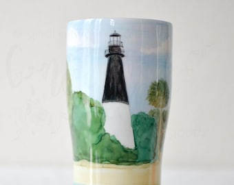 Lighthouses, Have your Favorite Light house Hand Painted on a tumbler just for you! Lighthouse Gifts, Lighthouse Decor, Lighthouse Painting
