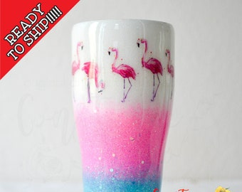 READY to SHIP! 30oz White, Pink and Blue Flamingo Glitter Tumbler, Stainless Steel Tumbler, Glittered Tumbler, One of a kind, Constance&Cole