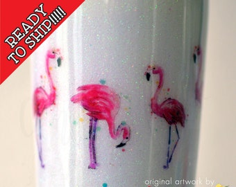 READY to SHIP! 22oz Tapered Let's Get Flocked Up Flamingo Tumbler, RTS, Birthday Tumbler, Glittered Tumbler, Flamingo Gift, Gift for Her
