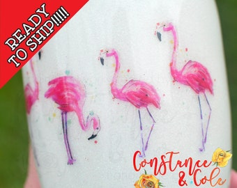 READY to SHIP! 30oz White and Glitter Flamingo Glitter Tumbler, Stainless Steel Tumbler, Glittered Tumbler, One of a kind, Constance&Cole