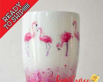 READY to SHIP! 30oz White and Pink Flamingo Glitter Tumbler, Stainless Steel Tumbler, RTS, Glittered Tumbler, One of a kind, Constance&Cole