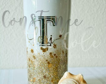 Personalized white and gold glitter ombre 20oz stainless steel tumbler.