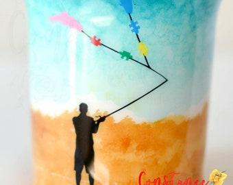 Hand Painted Sunset, Autism Awareness, Fishing Tumbler, Non Glitter Tumbler, Tumbler for Him, Tumbler for Dad, Autism Dad, Fishing Dad