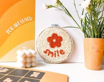 punch needle pattern PDF / 'smile' punch needle kit / DIY craft