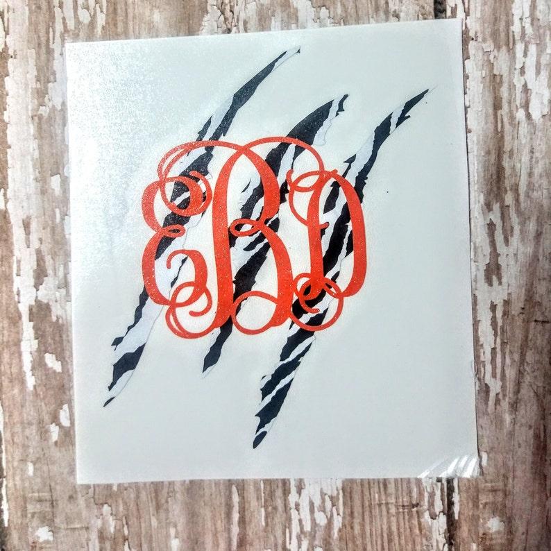 Zebra Print Monogram/Monogrammed Decal/Monogrammed Sticker/Zebra/Claw  Decal/Decal/Monogram/Vine Font/Tiger Claw/Scratch Marks/