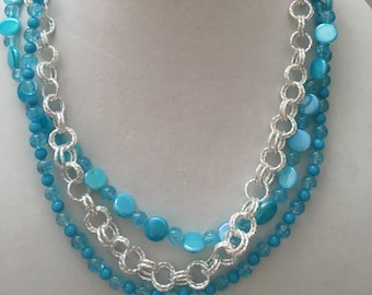 Blue and Bead and Chain Necklace, Multi Strand Necklace, Blue Necklace