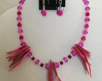 Hot Pink Beaded Necklace With Matching Pink Earrings
