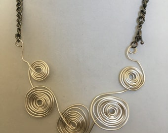 Spiral Wire Necklace With Matching Earrings