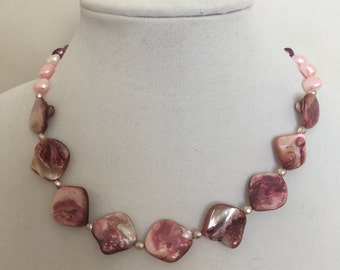 Pearl Necklace, Pink, Purple, Rose Pearl Necklace.