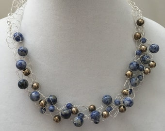 Crocheted Beaded Necklace, Blue and Silver Necklace