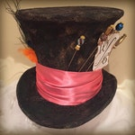 Tim Burton Mad Hatter Hat, FULL SIZE Top Hat, Steampunk, Cosplay, Alice in Wonderland, Queen of Hearts, White Rabbit, Tea Party