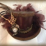Mini Top Hat, Steampunk hat, Cosplay hat, Tea Party, Mad Hatter hat, Cosplay, Costume, Victorian, Leather Fascinator, leather look
