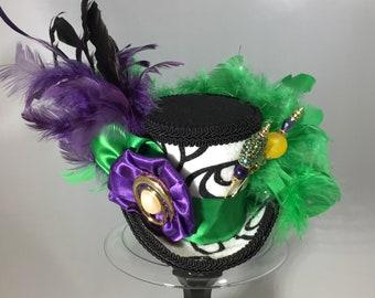Mini Top Hat, Black/White/Purple/Green Hat, Mad Hatter Hat, Cosplay, Fascinator, Hatpins, Tea Party, Steampunk, Victorian, Mardi Gras