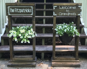 Plant Stand-Local Pick-up ONLY -wood slice, rustic sign, farmhouse, welcome sign, pine logs, front porch, woodworking, garden sign