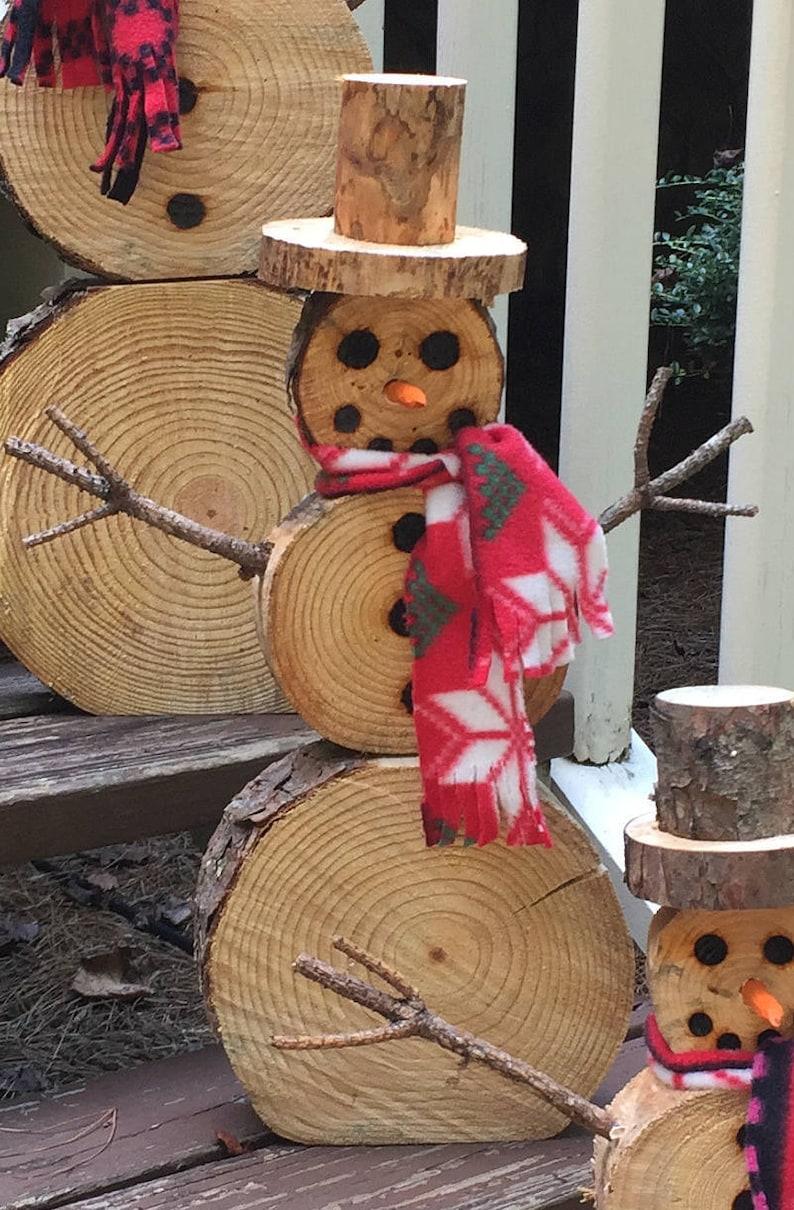 Medium Wood Slice Snowman Christmas Decor image 0