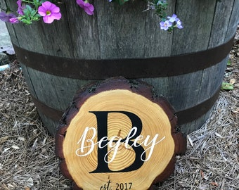 Personalized log slice, wood slice, rustic decor, wood sign, rustic name sign, name sign, log slice, wedding gift, personalized, wood cookie