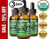 Peppermint Hemp Oil for Pain, Sleep, Anxiety, Keto Hemp Seed Extract 1000mg