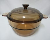 Vision Corning Ware Glass Double Boiler Insert V-20-B France w Lid brown Vintage