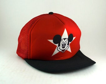 2d267733d1f Vintage 80s Walt Disney Productions Mickey Mouse Trucker Hat    Retro  Meshback Baseball Cap    Adjustable Snapback Cap    Red Hat