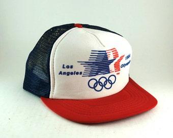 0e019616087 Vintage 1984 Olympics Los Angeles USA Trucker Hat    Retro Sportswear  Meshback Baseball Cap    Adjustable Snapback Cap    Red White Blue Hat