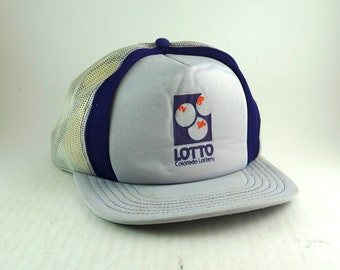 e2eb5402526 Vintage LOTTO Colorado Lottery Trucker Hat    Retro Gray Purple Meshback  Baseball Cap    Adjustable Snapback Cap    USA Made