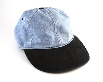 91ff39e6ab2 90s Denim and Black Two-Toned Dad Hat    Faux Suede Brim Baseball Cap with  Adjustable Strapback    Low Profile Fit