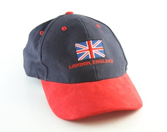 c94d39a0 London England Two-Toned Dad Hat // English Flag Baseball Cap // Black &  Red UK Hat with Adjustable Strapback