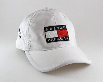 58f476e2 Nassau Bahamas White Dad Hat // Faux Hilfiger Caribbean Baseball Cap with Adjustable  Strapback