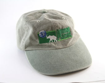 Vintage Animal Planet Two Toned Dad Hat    Animal Lover Low Profile Khaki  and Green Baseball Cap with Adjustable Strapback 0fd9d52b5009