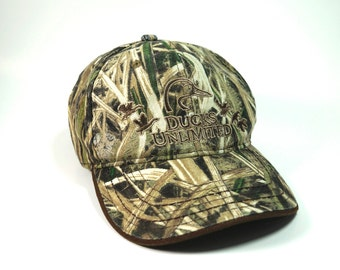 97593094497 Ducks Unlimited Camo Adjustable Strapback Hat    Camouflage Hunting  Baseball Cap    Embroidered Duck Profile Hat
