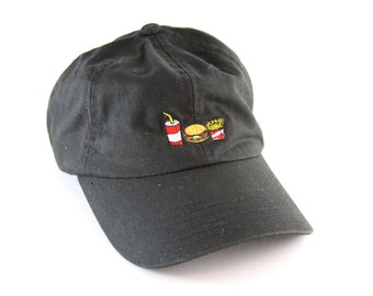 c8d169bcc6e Burger and Fries Black Dad Hat    Hamburger and French Fries Baseball Cap  with an Adjustable Strapback