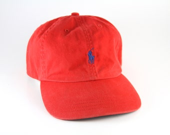 22c7fe405a9 Vintage Ralph Lauren Polo Red Dad Hat    Low Profile Pony Baseball Cap with  a Blue Polo Player Logo    Adjustable Leather Strapback