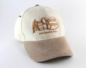 2e9b3cc4ce9 Cracker Barrel Old Country Store Baseball Cap    White and Brown Two Toned  Hat with Faux Suede Brim