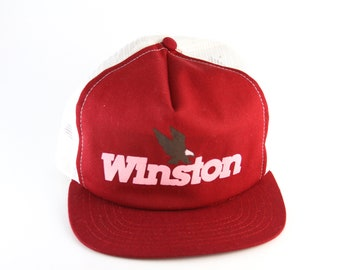 755a4e51efe Vintage Winston Snapback Baseball Cap    NASCAR Racing Red and White Mesh  Trucker Hat    Made in the USA