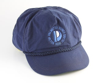 3496678dd54c3 Vintage Palmetto Dunes Hilton Head Blue Trucker Style Baseball Cap with  Rope Detail    Adjustable Vacation Strapback Hat Cap
