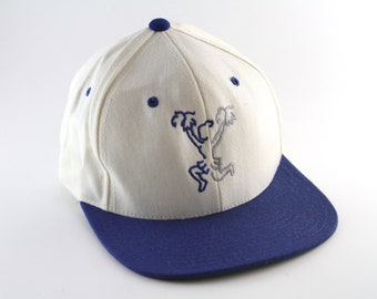 207a89520f1 Vintage Cheerleading Embroidered Baseball Cap    80 s 90 s Two Toned Snapback  Hat    Cheer White and Blue Hat