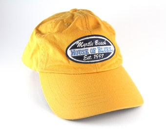 a0bedaecefa Myrtle Beach House of Blues Yellow Dad Hat    HOB Baseball Cap with  Adjustable Strapback    Music Venue Hat