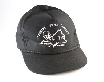 b3122cebc1f3b Vintage Country Style Dancers of Virginia Black Trucker Style Hat    Black  Snapback Baseball Cap with Rope Detail    Square Dancing Hat