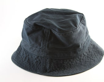 8bbd0f3854a Plain Navy Blue Bucket Hat    Size L-XL    Roll Up Gilligan Hat    Boonie  Cap