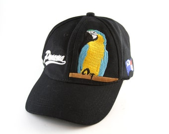 a6ea08d8e01 Panama Embroidered Parrot Dad Hat    Black Unstructured Baseball Cap with  Adjustable Strapback    Low Profile Fit