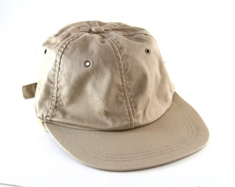 3709bd264b6 Vintage Plain Khaki Low Profile Dad Hat with Flat Brim    Classic Tan  Unstructured Baseball Cap with Adjustable Strapback