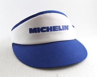 c6d0f7660ef Rare Vintage Michelin Tires Blue and White Sun Visor    Adjustable Michelin  Man Hat Cap