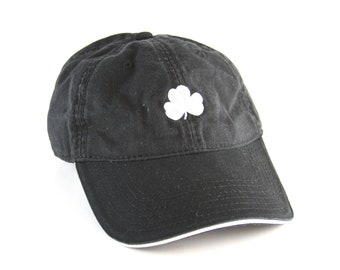 5164fd35c93 Shamrock Clover Black Dad Hat    Flannigan s Bud Lucky Baseball Cap    Saint  Patricks Day Hat with and Adjustable Strapback