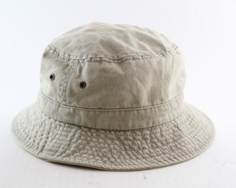 927fd2f68724b Vintage Tan 90s Bucket Hat    Dorfman Pacific Co Roll-up Vacation Hat     Gilligan Hat    Size Large-XL