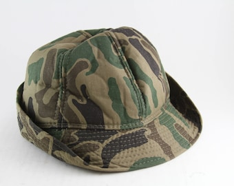 Vintage Camo Elmer Fudd Style Roll up Hat    Camouflage Bucket Hat d0cfdb5912c