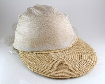 Vintage Women s Straw Hat with Long Bill and Scarf with Bow in Back     Straw Woven Summer Baseball Cap    Women s Size Small b03467ab1d6