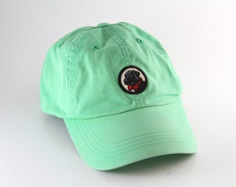 a6b64ef5172 Southern Proper Black Lab in a Bow Tie Dad Hat    Green Baseball Cap with  an Adjustable Strapback    Low Profile Unstructured Cap